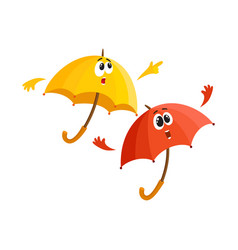 two umbrella characters - pointing to something vector image