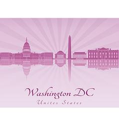 Washington DC skyline in purple radiant orchid vector image vector image
