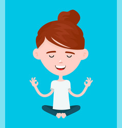 woman in a lotus yoga pose relaxes vector image vector image