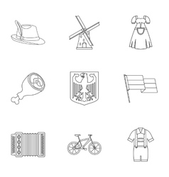 Country Germany icons set outline style vector image
