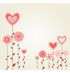 flowers with heart shapes vector image