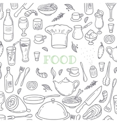 Food and drink outline doodle background Hand vector image vector image