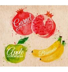 Fruit watercolor watermelon banana pomegranate vector image vector image