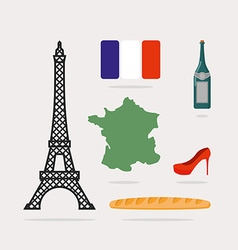 Icons symbols of France Eiffel Tower and map vector image vector image