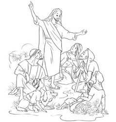 jesus preaches the gospel coloring page vector image vector image