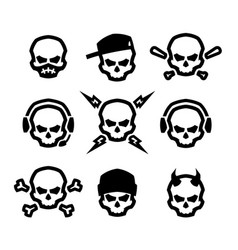 Set of skulls logo symbol sign vector