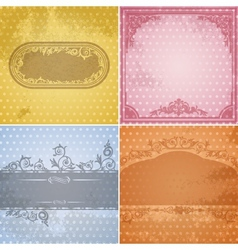 Set of vintage paper backgrounds with calligraphic vector image vector image