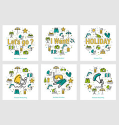 summer round banners - water activity vector image