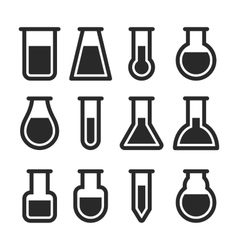 Chemical Test Tubes Icons Set vector image