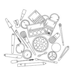 Cosmetics and fashion background with make up vector image vector image