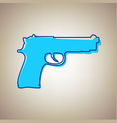 gun sign sky blue icon with vector image vector image