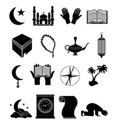 Islam icons set vector image vector image