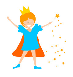 little girl in the crown and with a magic wand on vector image