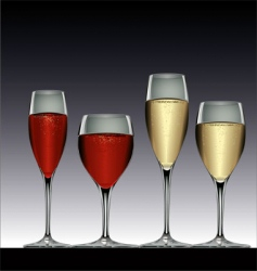 wine glasses red and white vector image