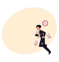 businessman hurrying to work holding papers vector image