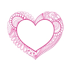 Floral doodle pink heart frame in zentangle style vector image vector image