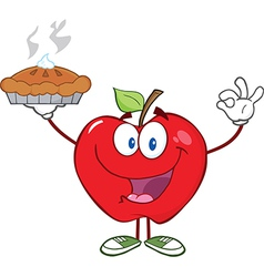 Happy Red Apple Character Holding Up A Pie vector image vector image