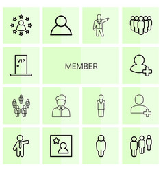 14 member icons vector