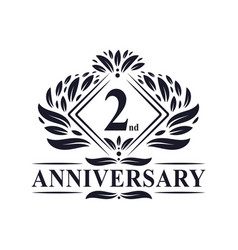 2 years anniversary logo luxury floral 2nd vector