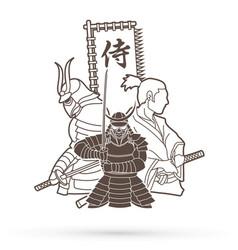 3 samurai composition outline cartoon vector