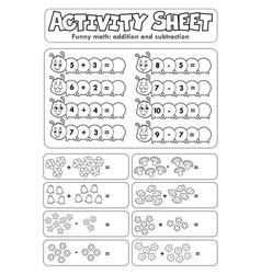 Activity sheet math theme 5 vector