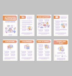 After school program brochure template layout vector