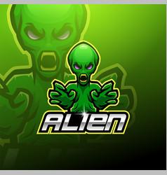 Alien esport mascot logo design vector
