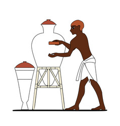 Ancient egypt ceramist at work vector