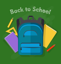 back to school blue backpack office supplies vector image
