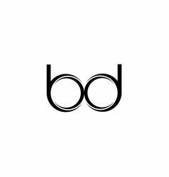 bd logo monogram with slice rounded modern design vector image