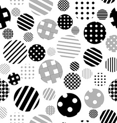 Black and white patterned circles seamless vector image