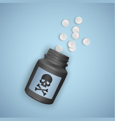black bottle with poisonous pills a bottle vector image