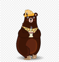 cartoon bear in slippers and night cap holding cup vector image