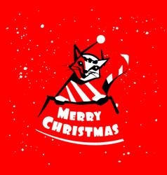 Cat logo merry christmas vector