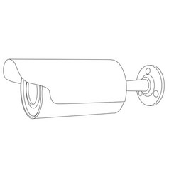 cctv camera side view outline vector image