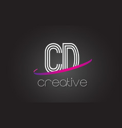 Cd c d letter logo with lines design and purple vector