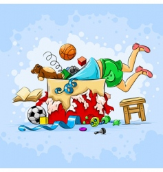 child and toys vector image