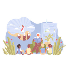 child religion flat composition vector image