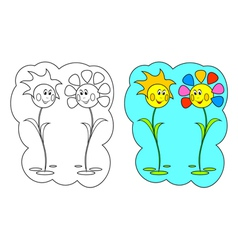 Color-in Flowers vector image