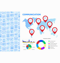 Communication infographics pointers on map vector