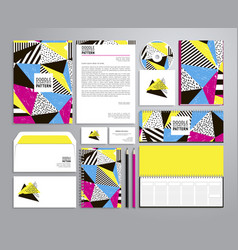 corporate identity templates with neon colors vector image