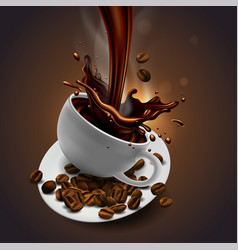 cup of coffee coffee beans and splash effect vector image