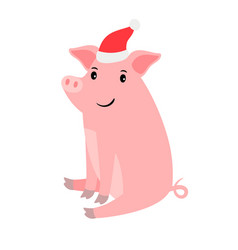 cute pink pig in santa hat vector image