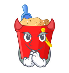 Devil picture beach bucket on shovel cartoon vector