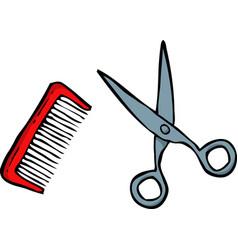 doodle comb and scissors vector image