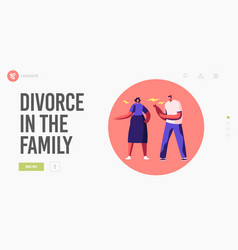 family fighting landing page template angry vector image