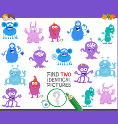 find two identical monsters game for children vector image