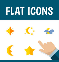 Flat icon midnight set of asterisk starlet vector