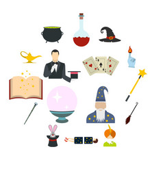 focus flat icons set vector image