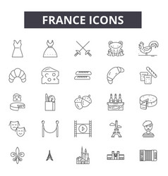 france line icons signs set outline vector image